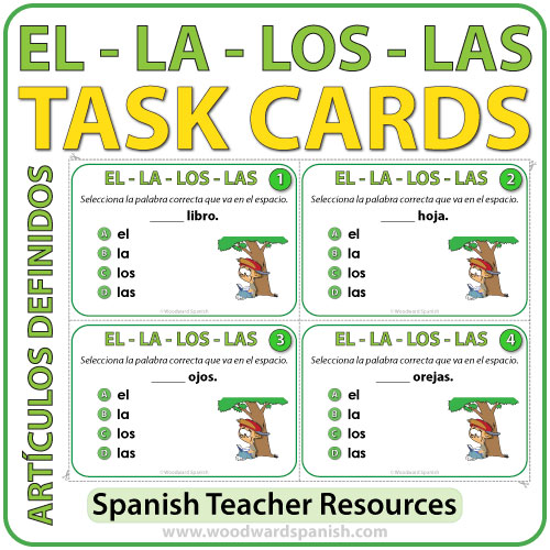 Spanish task cards definite articles woodward spanish