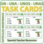 Spanish Task Cards - Los Artículos Indefinidos (Indefinite Articles)