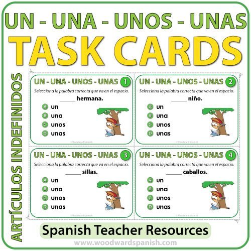 Spanish Task Cards - Los Artículos Indefinidos (Indefinite Articles)
