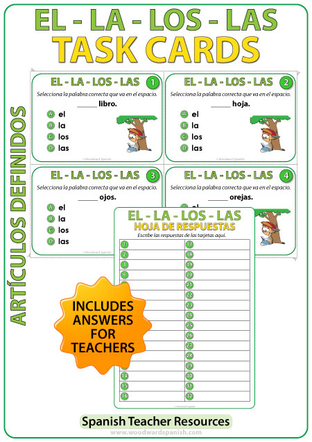 Spanish Definite Articles Task Cards - Los Artículos Definidos