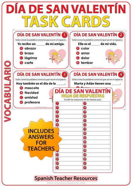 Spanish Task cards about Valentine's Day. Tarjetas acerca del Día de San Valentín en español.
