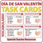 Task cards to learn and practice Spanish vocabulary about Valentine's Day (Día de San Valentín) Tarjetas de selección múltiple para aprender vocabulario acerca del Día de San Valentín en español.