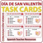 Spanish Task Cards - Valentine's Day Verb Conjugation - Día de San Valentín