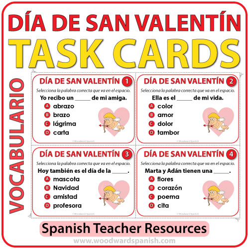 Spanish Task Cards D a de San Valent n Nouns – Valentines Cards in Spanish