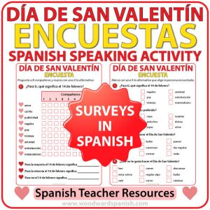 Spanish Valentine's Day Speaking Activity - Encuesta del Día de San Valentín