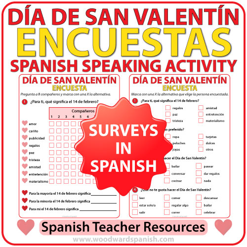 Spanish Valentine's Day Speaking Activity - Encuesta del Día de San Valentín