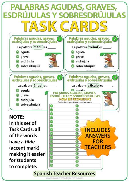 Palabras agudas, graves, esdrújulas y sobresdrújulas - Spanish Task Cards