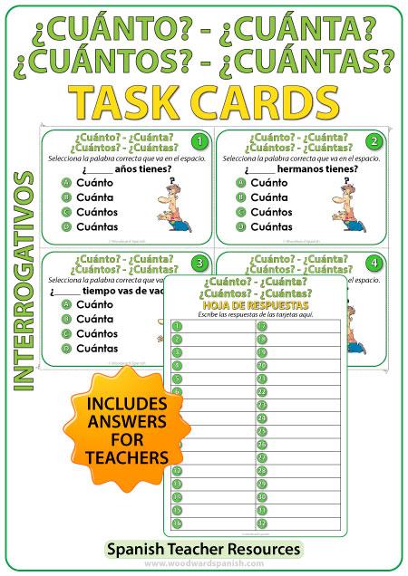 Cuánto, Cuántos, Cuánta, y Cuántas - Spanish Task Cards