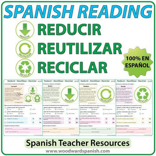 Spanish Reading about the three Rs: reduce, reuse and recycle. Lecturas en español acerca de reducir, reutilizar, y reciclar.