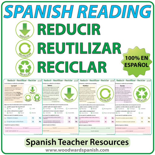 Spanish Reading about the three Rs: reduce, reuse and recycle. Lecturas en español acerca de reducir, reutilizar, y reciclar.