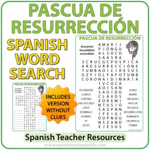 Sopa de Letras con vocabulario religioso de la Pascua de Resurrección. Word Search with Religious Vocabulary about Easter in Spanish.