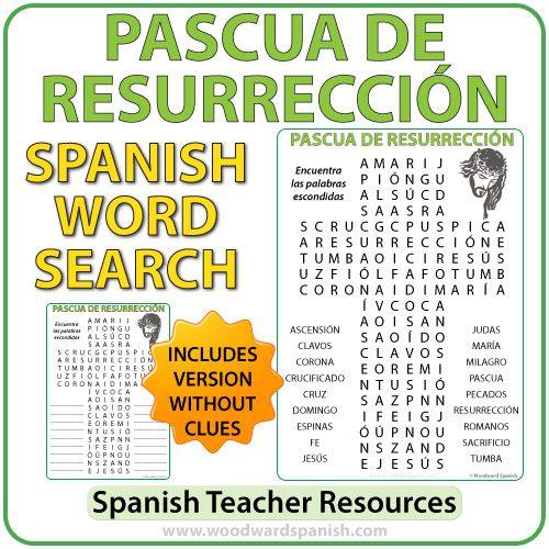 Sopa de Letras con vocabulario religioso dela Pascua de Resurrección. Word Search with Religious Vocabulary about Easterin Spanish.