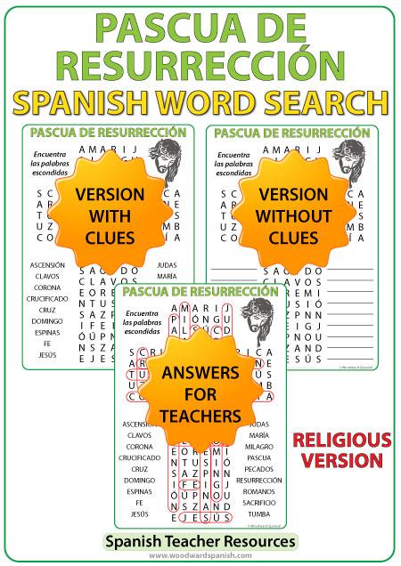 Word Search with Religious Vocabulary about Easterin Spanish. Sopa de Letras con vocabulario religioso dela Pascua de Resurrección.