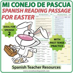 Spanish Easter Reading Passage with comprehension activities. Lectura en español relacionada con la Pascua.
