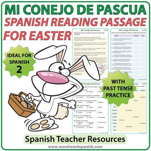 Spanish Easter Reading Passage with comprehension activities. Lectura en español relacionada con la Pascua.