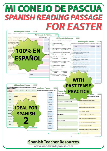 Spanish Reading Passage for Easter with comprehension activities. Lectura en español - Mi conejo de Pascua.