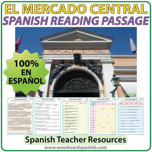 Spanish Reading Passage about El Mercado Central de Santiago, Chile - Lectura y fotos
