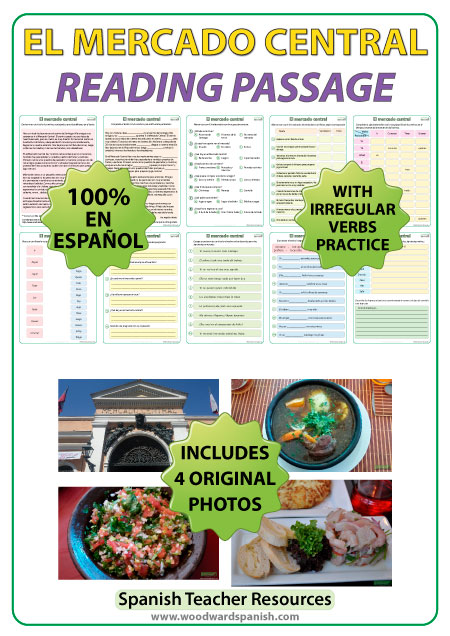 Spanish Reading about El Mercado Central in Santiago, Chile - Includes Photos.