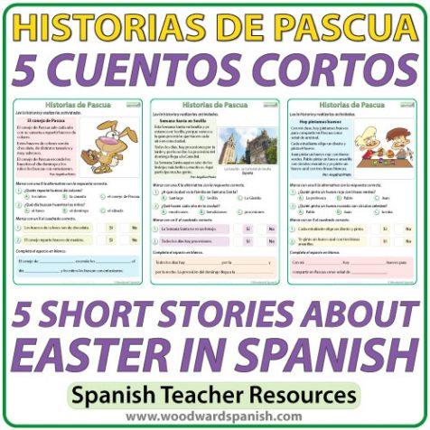 Short stories in Spanish about Easter with comprehension activities. Cuentos cortos en español acerca de la Pascua con actividades de comprensión.