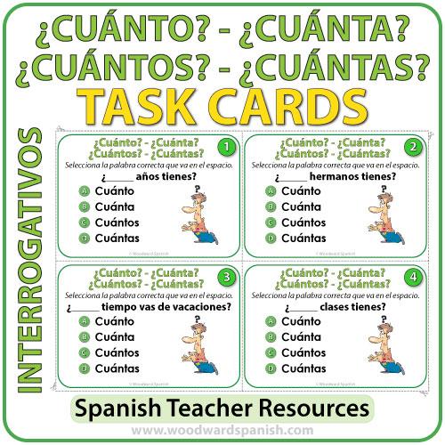 Spanish Task Cards: Cuánto, Cuántos, Cuánta, y Cuántas