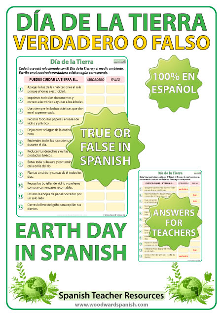 Spanish Earth Day - True or False Quiz. Día de la Tierra - Verdadero o Falso