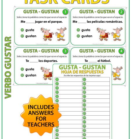 GUSTA vs. GUSTAN en español - Spanish Task Cards to practice the difference between GUSTA and GUSTAN.