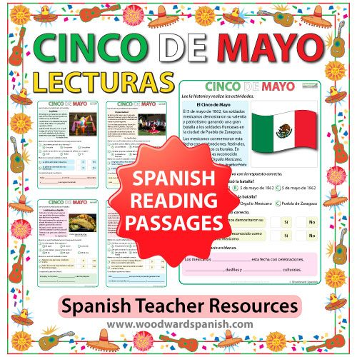 Spanish Reading Passages about Mexico's 5th of May celebrations. Lecturas en español acerca del cinco de mayo en México.