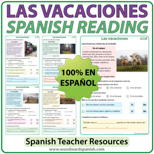 Spanish Reading Passages about Vacations / Holidays. Lecturas en español acerca de las vacaciones.