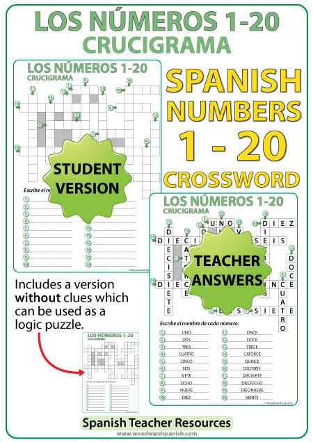 Spanish Numbers 1 To 20 Crossword – Crucigrama
