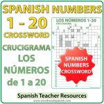 Crossword with the numbers from 1 to 20 in Spanish. Crucigrama con los números de 1 a 20 en español.