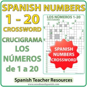 Crossword with the numbers from 1 to 20 in Spanish. Crucigrama con los números de 1 a 20 en español.