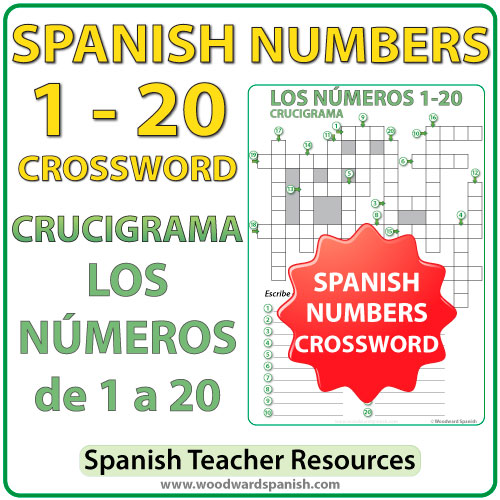 spanish numbers 1 to 20 crossword crucigrama woodward spanish. Black Bedroom Furniture Sets. Home Design Ideas