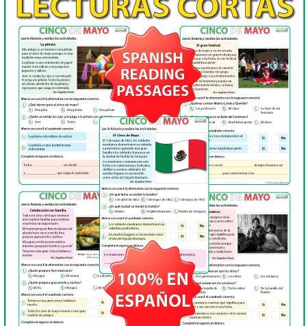 Spanish Reading Passages about Mexico's 5th of May celebrations. Lecturas en español acerca del cinco de mayo en México.
