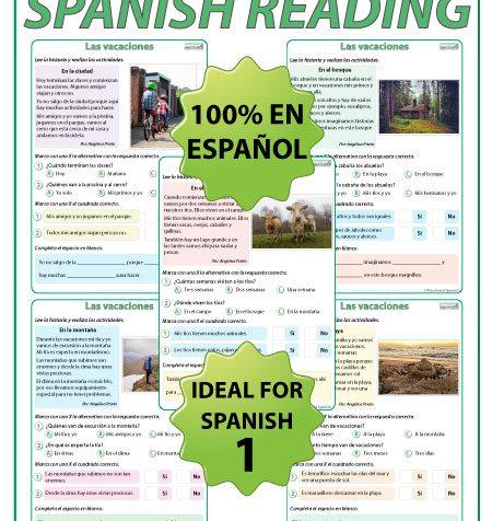 Lecturas en español acerca de las vacaciones. Spanish Reading about Vacations / Holidays.
