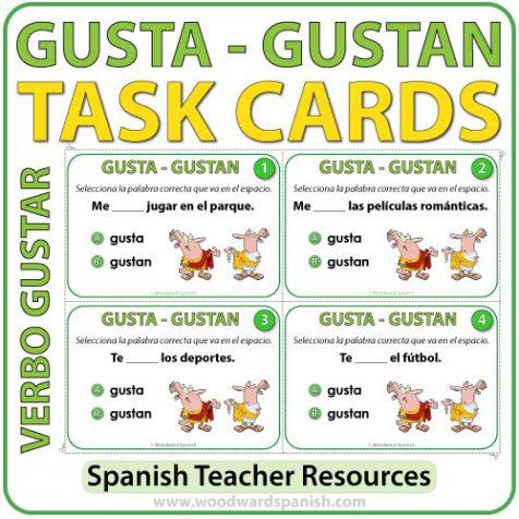 Spanish Task cards to practice the difference between GUSTA and GUSTAN. Tarjetas de selección múltiple para practicar la diferencia entre GUSTA y GUSTAN en español.
