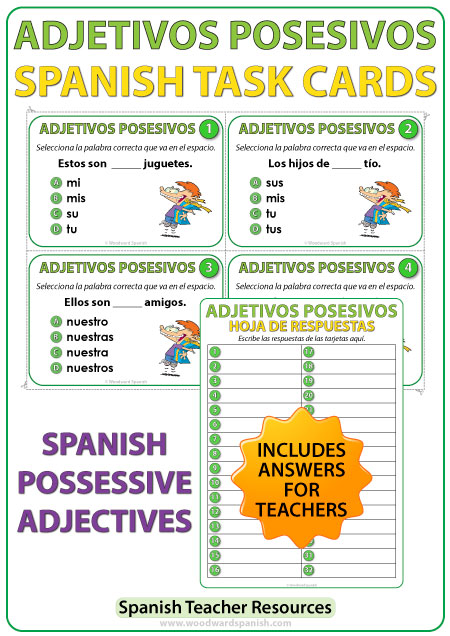 Spanish Task Cards - Adjetivos Posesivos - Possessive Adjectives in Spanish