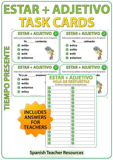 Spanish Task cards to practice the conjugation of the verb ESTAR + Adjective. Tarjetas de selección múltiple para practicar la conjugación del verbo ESTAR + Adjetivo en español.