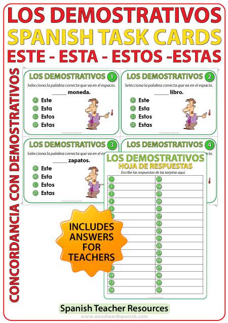 Este, Esta, Estos, Estas - Adjetivos Demostrativos - Spanish Task Cards