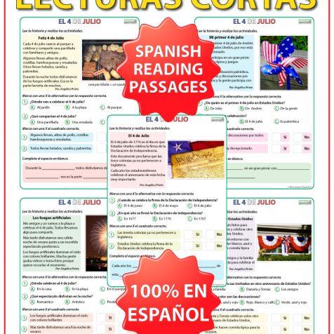 Lecturas del 4 de julio en es español - Spanish reading about the 4th of July.