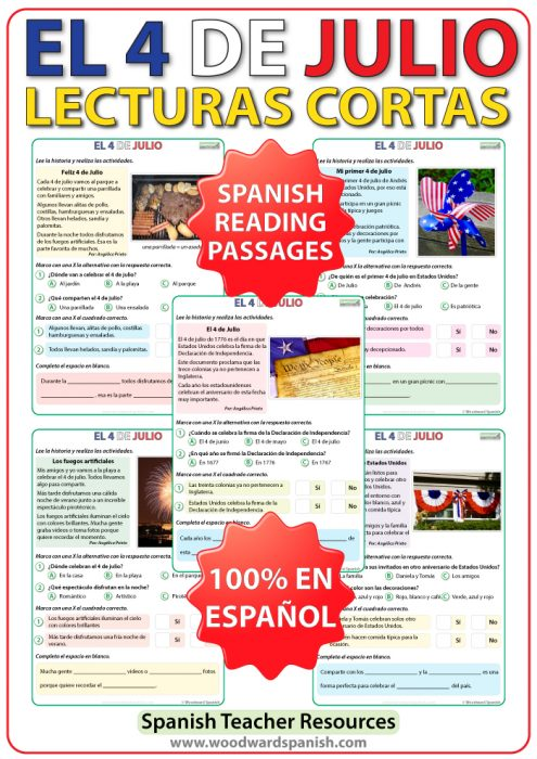 Lecturas del 4 de julio en es español - Spanish reading about the 4th of July.