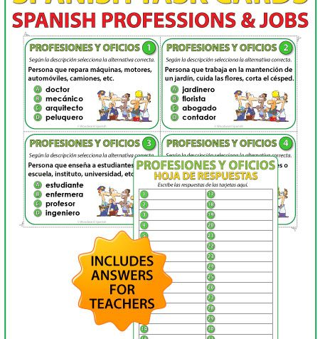 Profesiones y Oficios - Spanish Task Cards - Professions and Jobs
