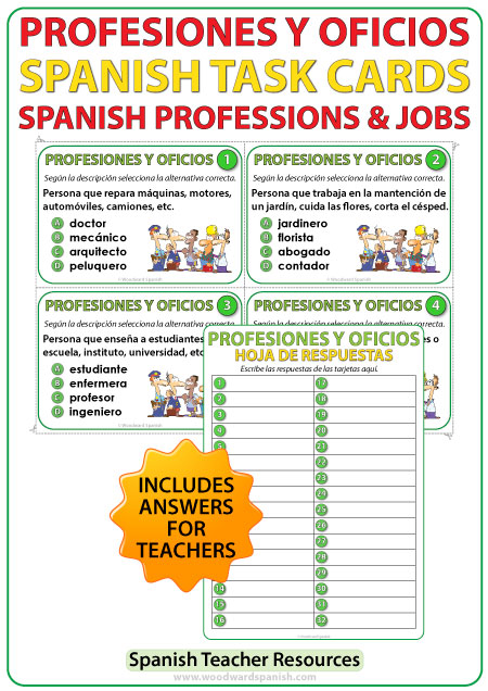 Profesiones y Oficios - Spanish Task Cards - Professions and Jobs