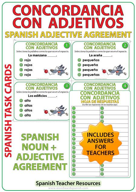 Spanish Adjective Agreement Task Cards - Concordancia con Adjetivos en español