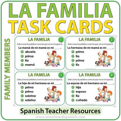 Spanish Family Members Task Cards - Miembros de la Familia