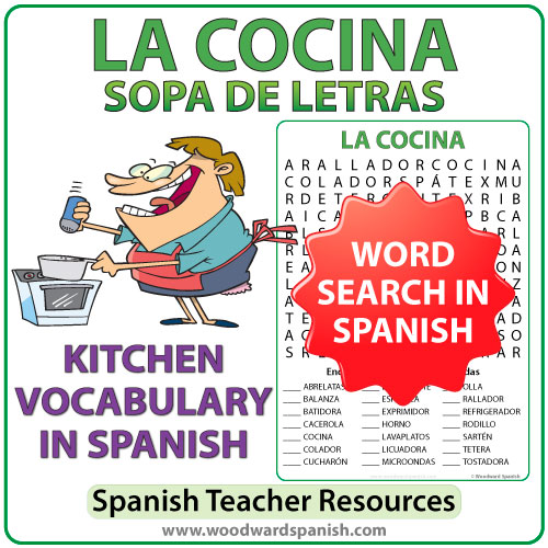 Spanish Kitchen Vocabulary Word Search. Sopa de Letras - Vocabulario relacionado con la cocina en español.