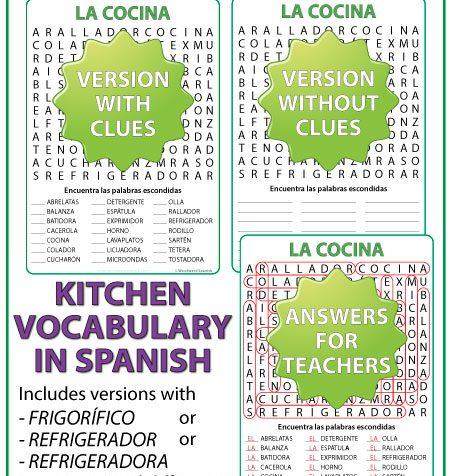 Spanish Kitchen Vocabulary Word Search. Sopa de Letras con vocabulariorelacionado con la cocina en español.