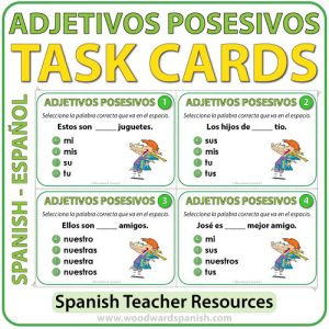 Spanish Possessive Adjectives Task Cards - Adjetivos Posesivos