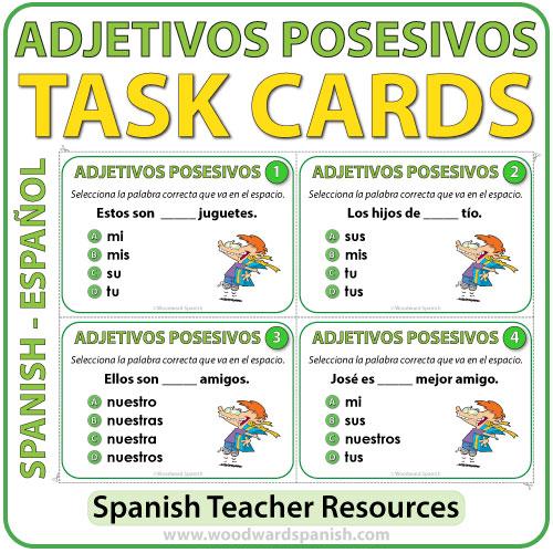 spanish possessive adjectives task cards adjetivos posesivos woodward spanish. Black Bedroom Furniture Sets. Home Design Ideas