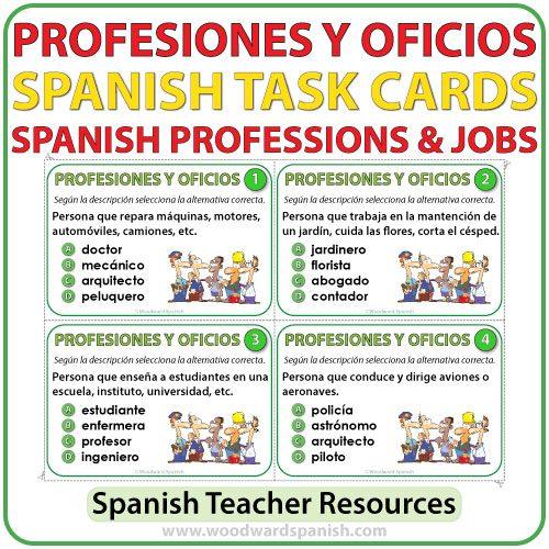 Spanish Professions and Jobs Task Cards - Profesiones y Oficios en español