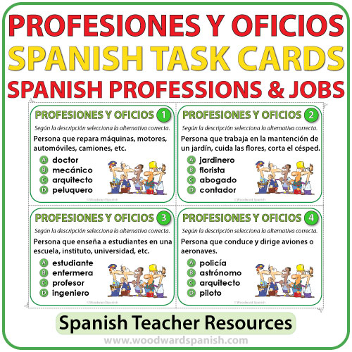 Spanish Professions and Jobs Task Cards - Profesiones y Oficios en español